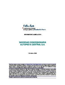 Feller-Rate CLASIFICADORA DE RIESGO Strategic Affíliate of Standard & Poor s