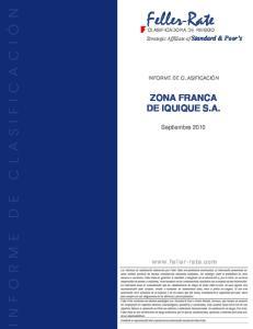 Feller-Rate ZONA FRANCA DE IQUIQUE S.A. Septiembre Strategic Affíliate of Standard & Poor s INFORME DE CLASIFICACIÓN