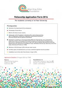 Fellowship Application Form 2016