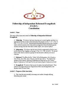 Fellowship of Independent Reformed Evangelicals (F.I.R.E.) Constitution