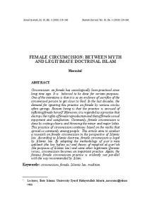 FEMALE CIRCUMCISION: BETWEEN MYTH AND LEGITIMATE DOCTRINAL ISLAM