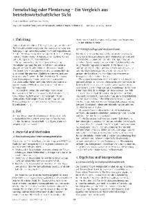 Femeischlag oder Plenterung - Ein Vergleich aus betriebswirtschaftlicher Sicht
