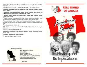 Feminismin Feminism Canada REAL Women of Canada April 2008