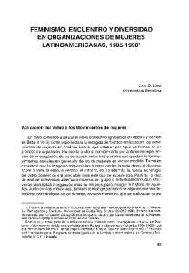 FEMINISMO: ENCUENTRO Y DIVERSIDAD EN ORGANIZACIONES DE MUJERES LATINOAMERICANAS, '