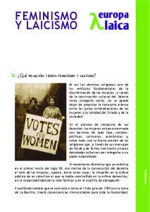 FEMINISMO Y LAICISMO. Feminismo