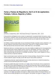 Ferias y Fiestas de Miguelturra. Del 5 al 15 de septiembre. Festejos, Cultura, Deporte y Cultos