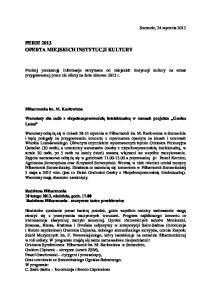 FERIE 2013 OFERTA MIEJSKICH INSTYTUCJI KULTURY