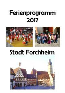 Ferienprogramm 2017 der Stadt Forchheim