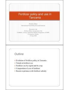 Fertilizer policy and use in Tanzania