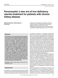 Ferumoxytol: a new era of iron deficiency anemia treatment for patients with chronic kidney disease