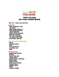 FESTA ITALIANA 2015 FOOD VENDOR MENUS