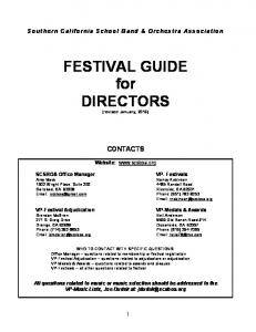 FESTIVAL GUIDE for DIRECTORS (revised January, 2016)