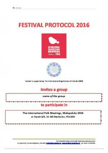 FESTIVAL PROTOCOL 2016