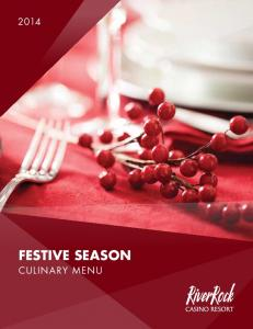 FESTIVE SEASON CULINARY MENU