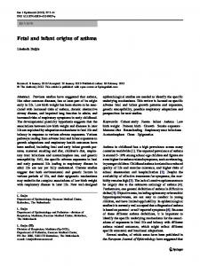 Fetal and infant origins of asthma