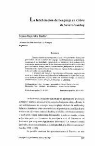 fetichización del lenguaje en Cobra de Severo Sarduy