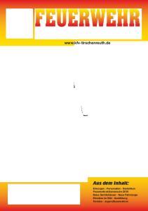 FEUERWEHR. Landkreis Tirschenreuth  Offizielles Organ des KFV Tirschenreuth 20. Jahresausgabe 2011