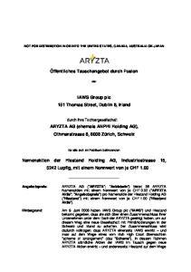 Öffentliches Tauschangebot durch Fusion. IAWS Group plc 151 Thomas Street, Dublin 8, Irland