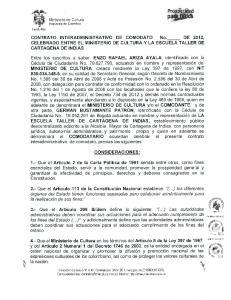 ffi ffi CONTRATO INTERADMINISTRATIVO DE COMODATO No._ DE 2012, CELEBRADO ENTRE EL MINISTERIO DE CULTURA Y LA ESCUELA TALLER DE CARTAGENA DE INDIAS