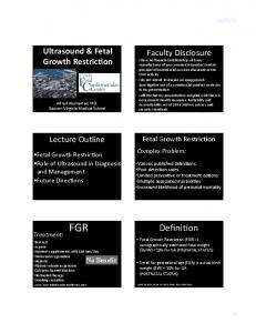 FGR. Defini>on. Ultrasound & Fetal Growth Restric9on