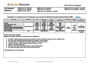 FHA Preferred Program