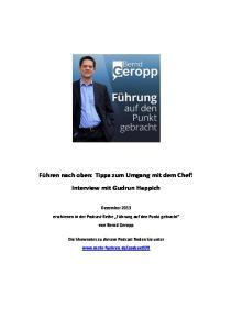 Führen nach oben: Tipps zum Umgang mit dem Chef! Interview mit Gudrun Happich