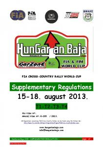 FIA CROSS-COUNTRY RALLY WORLD CUP. Supplementary Regulations august T1-T2-T3-T4