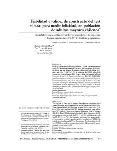 Fiabilidad y validez de constructo del test