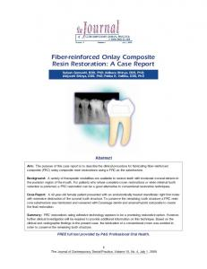 Fiber-reinforced Onlay Composite Resin Restoration: A Case Report