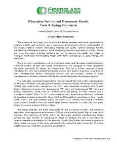 Fiberglass Reinforced Thermoset Plastic Tank & Piping Standards