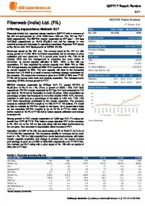 Fiberweb India Ltd. Q2FY17 Result Review. Affirming expectations; Maintain BUY BUY. SECTOR: Plastic Products