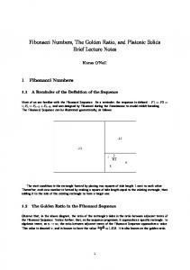 Fibonacci Numbers, The Golden Ratio, and Platonic Solids Brief Lecture Notes