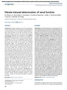 Fibrate-induced deterioration of renal function