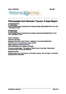 Fibromyalgia And Vehicular Trauma: A Case Report