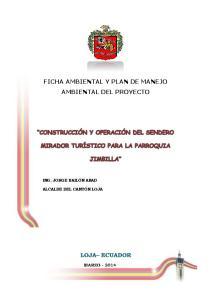 FICHA AMBIENTAL Y PLAN DE MANEJO AMBIENTAL DEL PROYECTO