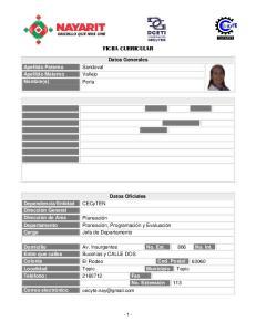 FICHA CURRICULAR. Datos Generales. Apellido Paterno Apellido Materno Nombre(s) Sandoval Vallejo Perla. Datos Oficiales CECyTEN