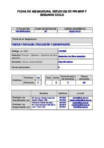 FICHA DE ASIGNATURA. ESTUDIOS DE PRIMER Y SEGUNDO CICLO
