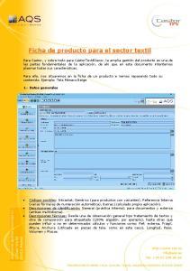 Ficha de producto para el sector textil