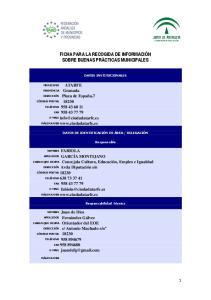 FICHA PARA LA RECOGIDA DE INFORMACIÓN SOBRE BUENAS PRÁCTICAS MUNICIPALES