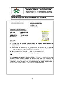 FICHA TECNICA DE ESPECIFICACIONES