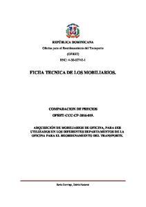 FICHA TECNICA DE LOS MOBILIARIOS