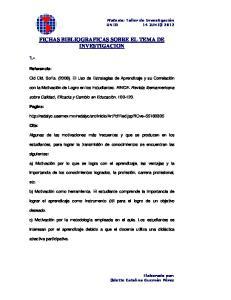 FICHAS BIBLIOGRAFICAS SOBRE EL TEMA DE INVESTIGACION