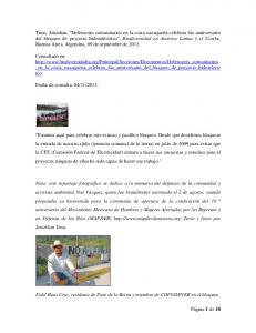 Fidel Heas Cruz, residente de Paso de la Reina y miembro de COPUDEVER en el bloqueo