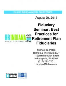 Fiduciary Seminar: Best Practices for Retirement Plan Fiduciaries