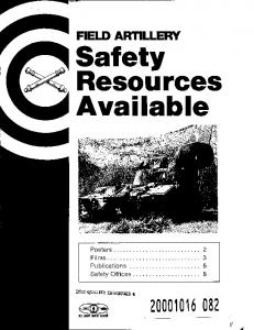 FIELD ARTILLERY Safety Resources Available