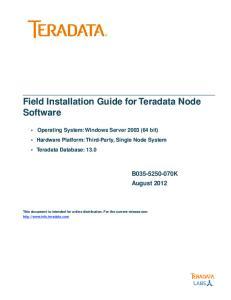 Field Installation Guide for Teradata Node Software