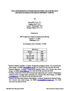 FIELD PERFORMANCE OF STABILIZED BLENDED CALCIUM SULFATE MATERIALS UNDER ACCELERATED PAVEMENT TESTING