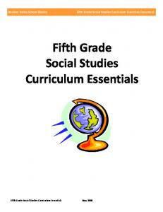 Fifth Grade Social Studies Curriculum Essentials Document