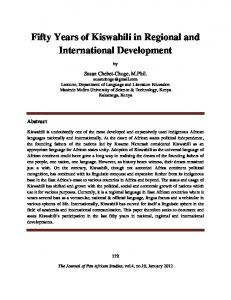 Fifty Years of Kiswahili in Regional and International Development