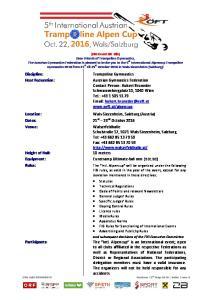 (FIG Event ID: tdb) Dear Friends of Trampoline Gymnastics,